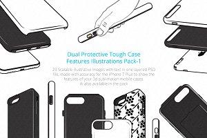 3D Tough Dual PhoneCase Illustration