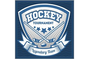 Hockey team logo template. Emblem, logotype template, t-shirt apparel design. Sport badge for tournament or championship.