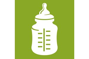 Baby bottle icon isolated on green background. Realistic vector illustration