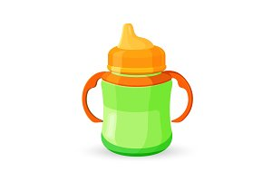 Baby cup bottle green orange translucent drinking bowl with milk