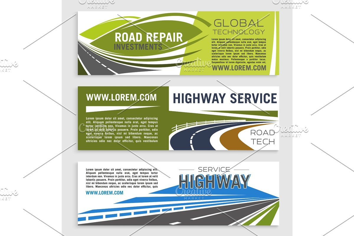 Road construction and repair banner template set