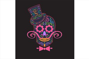 Skull vector gentlemen ornament