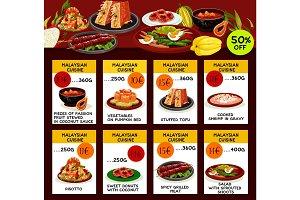 Malaysian cuisine restaurant menu template design
