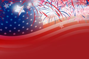 USA flag with fireworks background