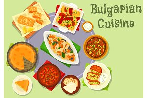Bulgarian cuisine dinner icon for food design