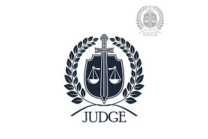 Lawyer firm, judge and law office symbol