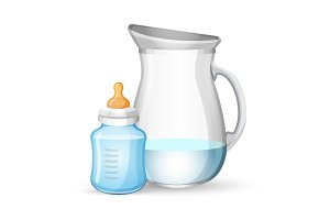Baby milk bottle and jug with liquid on white
