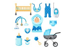 Baby boy design elements vector collection on white