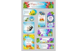 Vector Easter greeting cards, tags, banners set