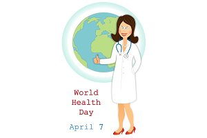World health day. Happy doctor with ok sign and globe