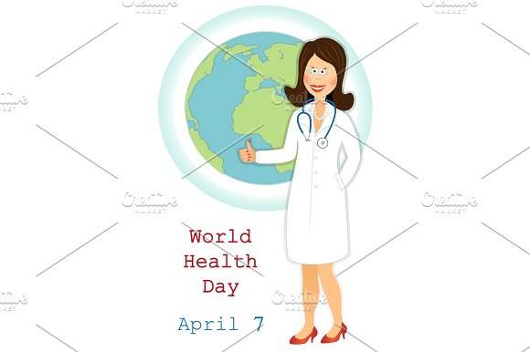 World Health Day Happy Doctor With Ok Sign And Globe
