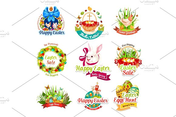 Easter sale and egg hunt celebration cartoon icons in Graphics