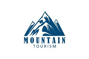 Mountain tourism and climbing sport icon design