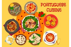 Portuguese cuisine lunch icon for menu design