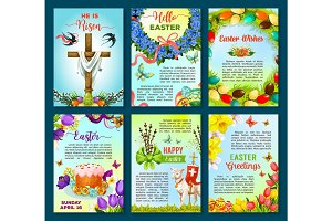 Easter poster template of egg, flower, cake, cross