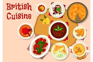 British cuisine lunch dishes icon design