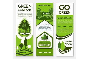 Eco business, green company banner template