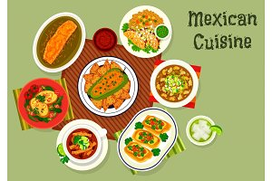 Mexican cuisine icon with soup and sandwiches