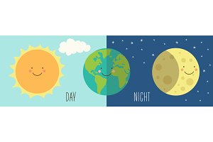 Cute Day and Night with funny smiling cartoon characters of planets
