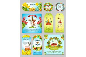 Easter gift tag, greeting banner and poster set
