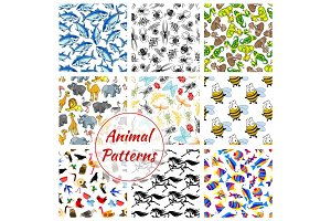 Animal, bird, fish and insect seamless pattern