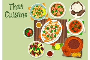 Thai cuisine icon for spicy asian food design
