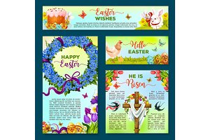 Easter holiday cartoon banner, poster template set