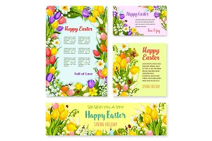 Easter banner template set with egg and flower