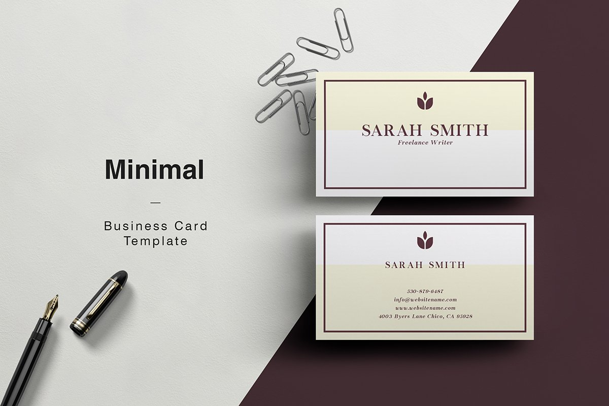 Sarah minimal business card business card templates creative sarah minimal business card business card templates creative market wajeb