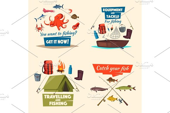 Fishing Icon Set With Boat Tackle And Fish Catch