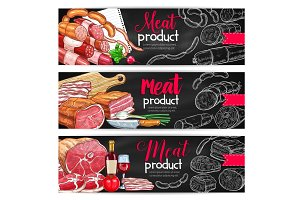 Meat sausage chalk sketch banner for bbq design