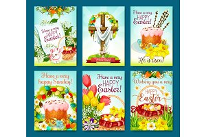 Easter egg hunt celebration cartoon poster set