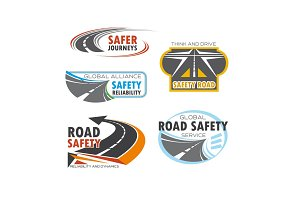 Road and traffic safety service symbol set design