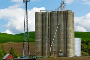 Large grain silo with tower