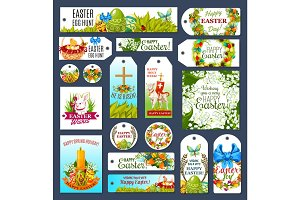 Easter tag set with Egg Hunt rabbit and flowers