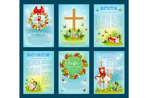 Easter holiday traditions poster template set