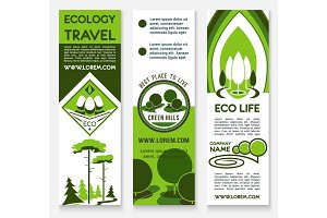 Ecology travel, building, business banner template