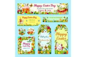 Easter egg and rabbit gift tag with flower decor