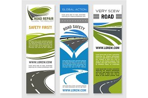 Road construction, repair, safety banner template