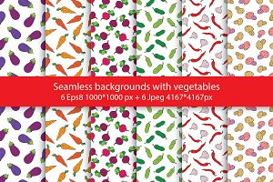 Seamless backgrounds with vegetables
