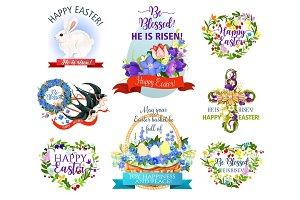 Easter holiday symbols cartoon icon set design