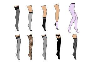 Set of different women pantyhose.