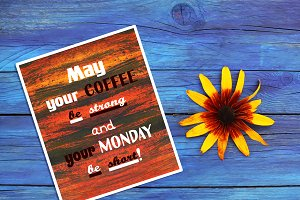 Card with quote about monday