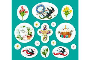 Easter egg cartoon sticker and label set design