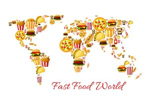 Fast food world map cartoon poster design