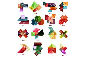 Set of color paper style business infographic templates