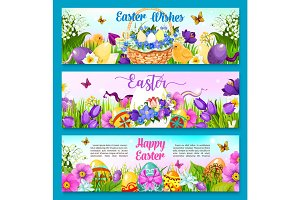 Easter egg with flower greeting banner template