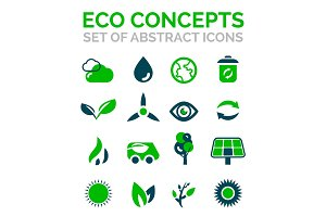 Set of vector eco nature environmental icons