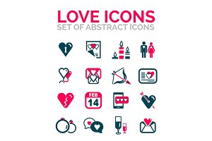 Set of Valentine day or love icons