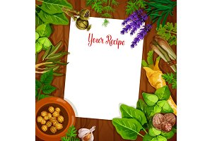 Herbs and spices with blank recipe page